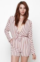 Lucca Couture Knot Tie Stripe Long Sleeve Romper