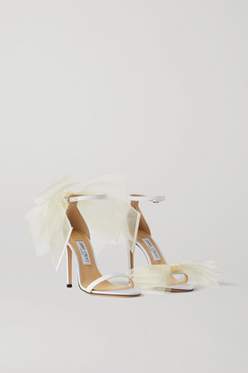 Jimmy Choo Aveline 100 Bow-embellished Grosgrain Sandals - White