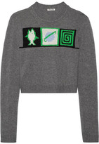 Miu Miu Cropped Intarsia Cashmere Sweater - Gray