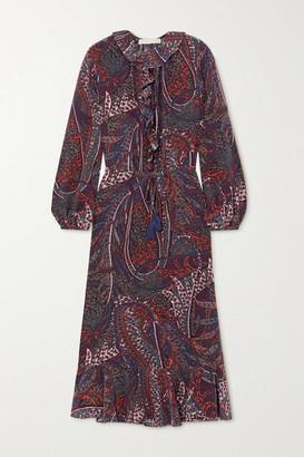 Vanessa Bruno Pryska Ruffled Paisley-print Chiffon Midi Dress - Burgundy
