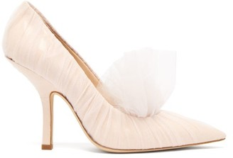 Midnight 00 Shell Point-toe Tulle & Patent-leather Pumps - Womens - Light Pink