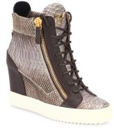 Giuseppe Zanotti Snakeskin-Embossed Leather High-Top Wedge Sneakers