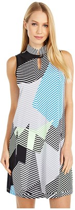 Jamie Sadock Geo Print Sleeveless Dress with Shortie (Jet Black) Women's Dress