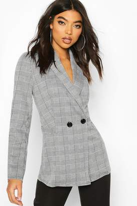 boohoo Tall Check Oversized Boyfriend Blazer