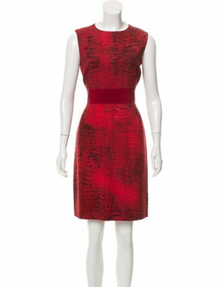 Giambattista Valli Printed Wool Dress Red