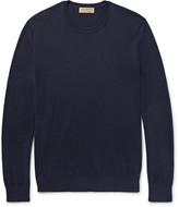 Burberry Elbow Patch Cashmere and Cotton-Blend Sweater