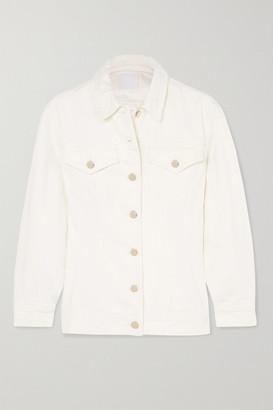 Gold Sign The Waisted Denim Jacket - White