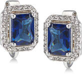 Carolee Silver-Tone Pavandeacute; and Blue Stone Clip-On Stud Earrings