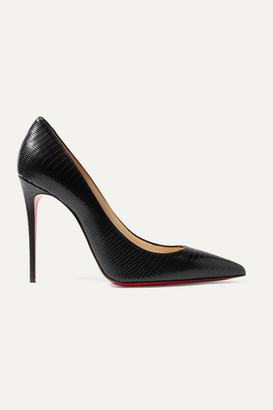 Christian Louboutin Kate 100 Lizard-effect Leather Pumps - Black