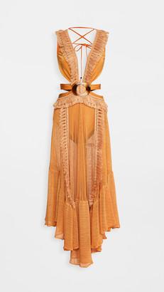 PatBO Netted Fringe Beach Dress