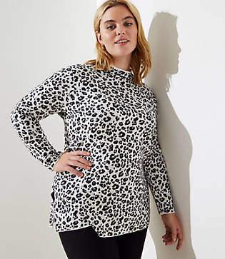 LOFT Plus Leopard Print Mock Neck Tunic Sweater