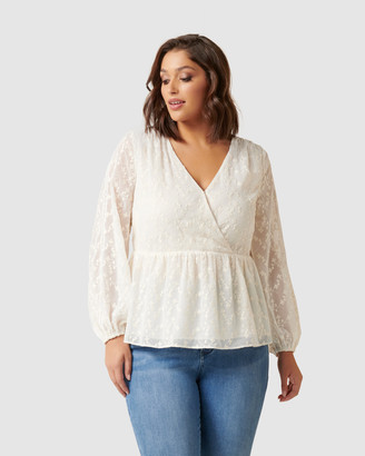 Forever New Curve - Women's Shirts & Blouses - Andrea Curve Embroidered Blouse - Size One Size, 16 at The Iconic