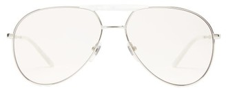 Gucci Metal And Acetate Aviator Glasses - Mens - Silver