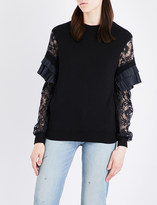 Clu Frilled-detail jersey and lace top