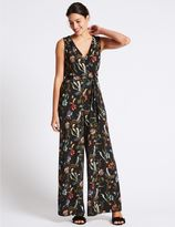 Marks and Spencer Floral Print Flared Jumpsuit with Belt
