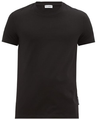 Dolce & Gabbana Logo-tab Cotton-blend Jersey Pyjama T-shirt - Black