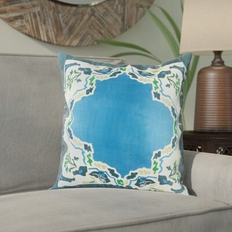 """Alois Silk Floral Throw Pillow Cover Bloomsbury Market Size: 18"""" H x 18"""" W x 0.25"""" D, Color: Bright Blue"""