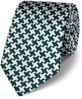 Charles Tyrwhitt Green silk luxury oversized end-on-end puppytooth tie