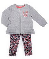 Little Lass Gray Three-Piece Quilt Jacket Set - Girls