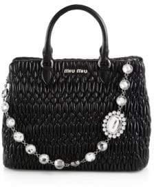 Miu Miu Swarovski-Crystal Quilted Leather Tote