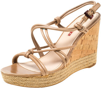Prada Sport Beige Leather Strappy Cork Wedge Espadrille Platform Sandals Size 37.5