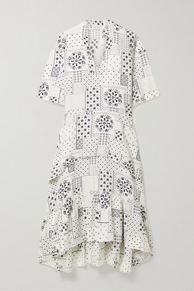 By Malene Birger Joi Tiered Printed Twill Midi Dress - White