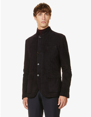 Eleventy Stand-collar long-sleeved suede jacket