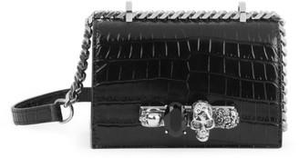 Alexander McQueen Mini Skull Jewelled Croc-Embossed Leather Satchel