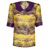 Manley Sadie Leather Collar Print Silk Top Purple