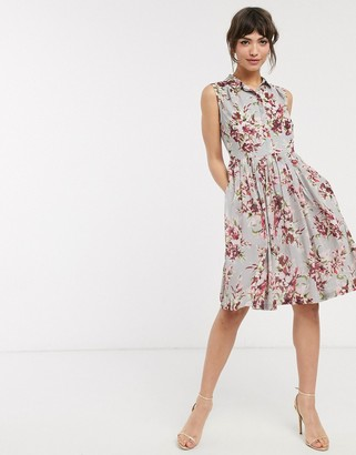 French Connection alerie drape sleeve dress in multi