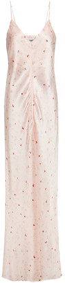 Ganni Button-embellished Floral-print Stretch-silk Satin Maxi Slip Dress