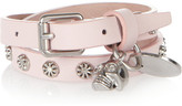 Alexander McQueen Silver-tone skull charm leather wrap bracelet