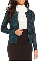 Ellen Tracy Round Neck Button Front Metallic Pointelle Knit Cardigan