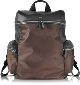 Paul Smith Black Nappa and Brown Nylon Men's Rucksack w/Side Pockets