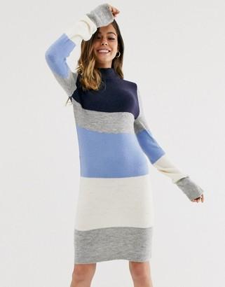 Brave Soul luna block stripe jumper dress-Multi