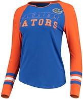 Unbranded Women's Royal/Orange Florida Gators Sleeve Stripe Split Neck Long Sleeve T-Shirt