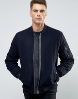 Asos Wool Mix Bomber Jacket With MA1 Pocket In Navy
