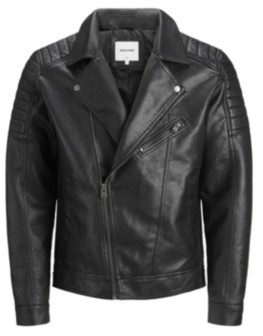 Jack and Jones Men'S Faux Leather Biker Jacket