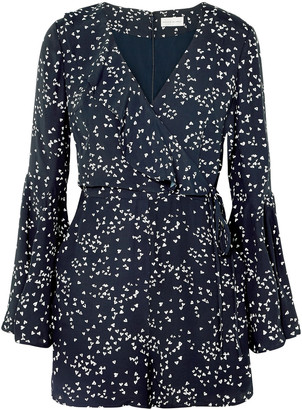 Rebecca Vallance Flores Wrap-effect Printed Crepe Playsuit