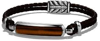 David Yurman Exotic Stone Station Brown Leather Bracelet with Tigers Eye