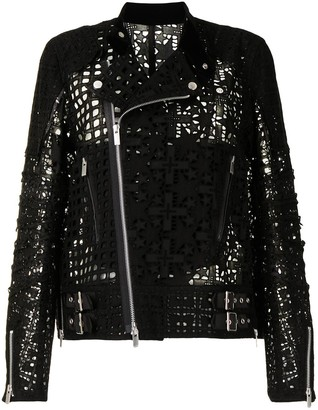 Sacai Star Lace Embroidered Biker Jacket