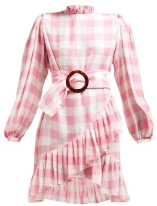 Adriana Degreas High Neck Gingham-print Mini Dress - Pink