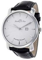 Lindberg & Sons LS15S-A1 - wrist watch for men - quartz movement analog display - Swiss made - white dial - black leather bracelet