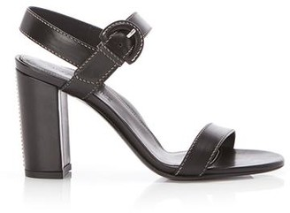Marion Parke Lang Black | Leather Block Heel Sandal With Buckle