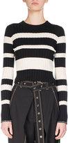 Proenza Schouler Crewneck Striped Knit Sweater, White/Black