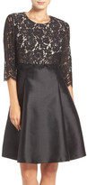 Eliza J Mixed Media Popover Fit & Flare Dress