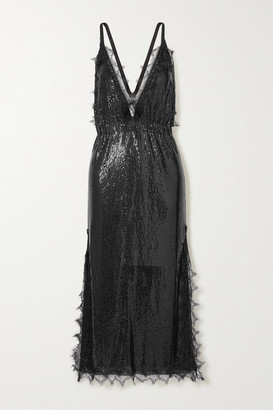 Christopher Kane Lace-trimmed Chainmail Midi Dress - Black