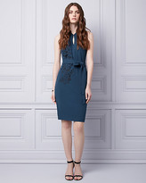 Le Château Embroidered Knit Crepe Cocktail Dress