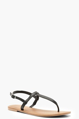 boohoo Plain Toe Thong Leather Sandals