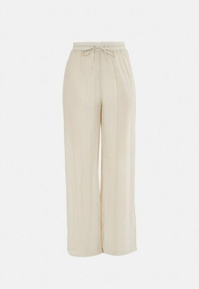 Missguided Beige Linen Look Wide Leg Beach Cover Up Pants